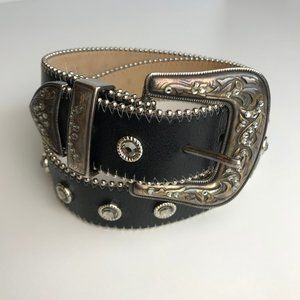 LEATHEROCK Studded Leather Belt Made in US Black S